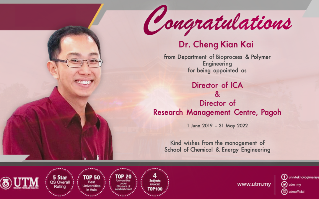 DR. CHENG KIAN KAI APPOINTED AS DIRECTOR OF ICA & RMC PAGOH