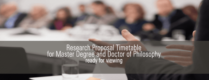 Seminar on Research Proposal Timetable for PhD & Master (Research)