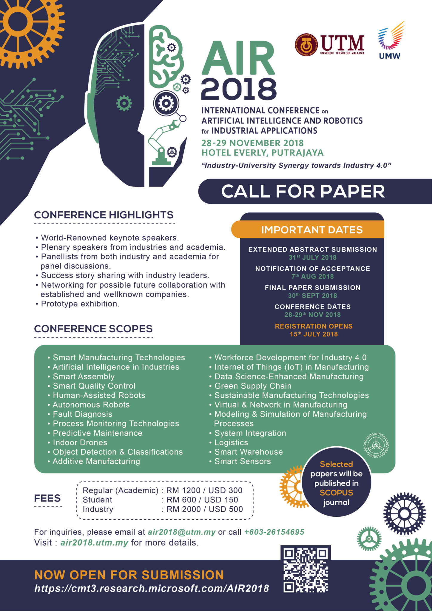 Call for Papers – International Conference on Artificial Intelligence and Robotics for Industrial Applications (AIR2018)