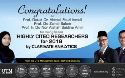 Faculty of Engineering lecturer listed as Highly Cited Researchers for 2018