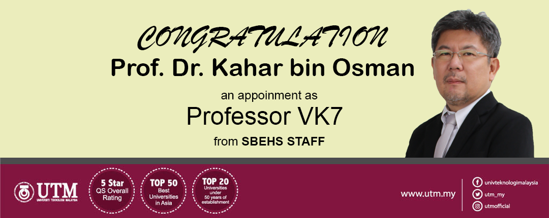 Congratulation to Prof. Dr. Kahar on appointment as Professor VK7