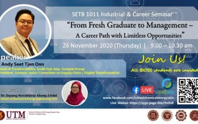 "SETB 1011 : Industrial and Career Seminar – ""From Fresh Graduate to Management – A Career Path with Limitless Opportunities"""