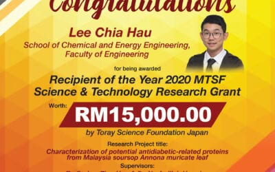 Congratulations Lee Chia Hau, student of School of Chemical and Energy Engineering