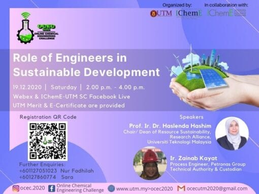 "OCEC 2020 – Sustainability Online Webinar : ""Role of Engineers in Sustainable Development."" 19th December 2020"