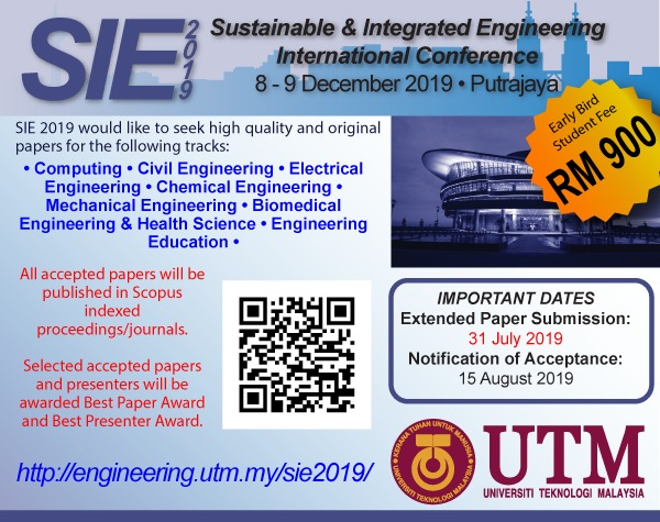 Sustainable & Integrated Engineering International Conference (SIE2019)