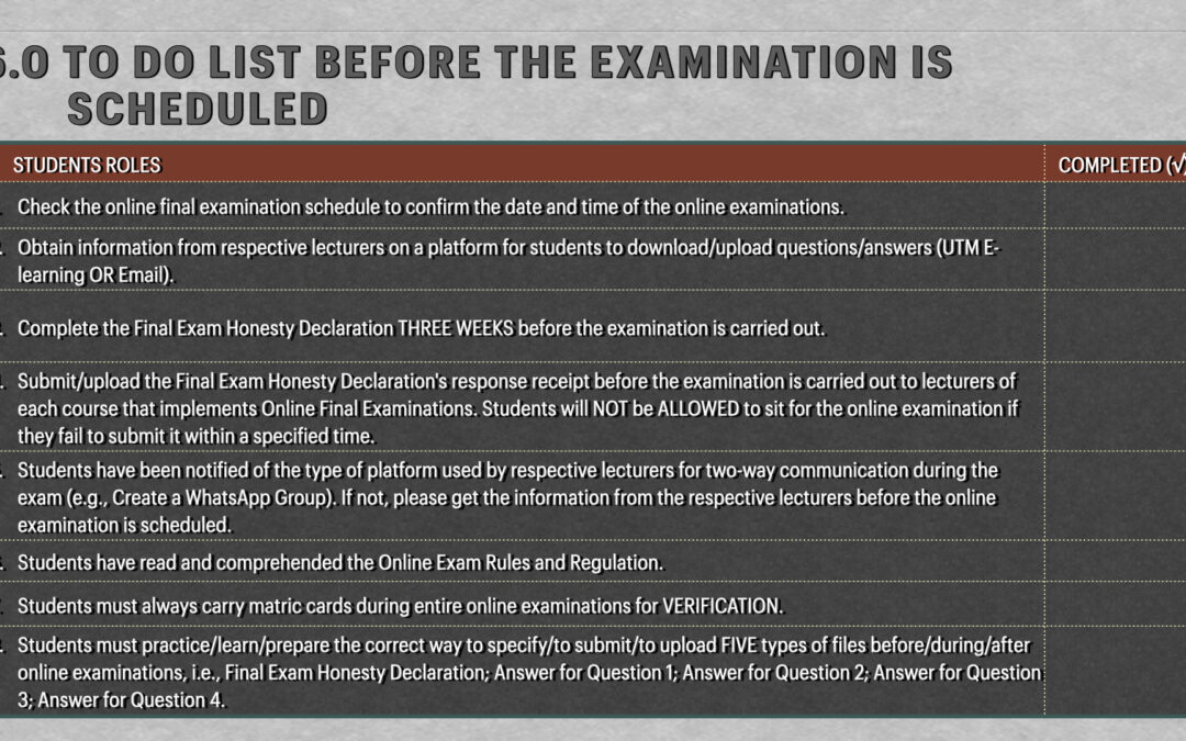 To Do List Before The Examination is Scheduled