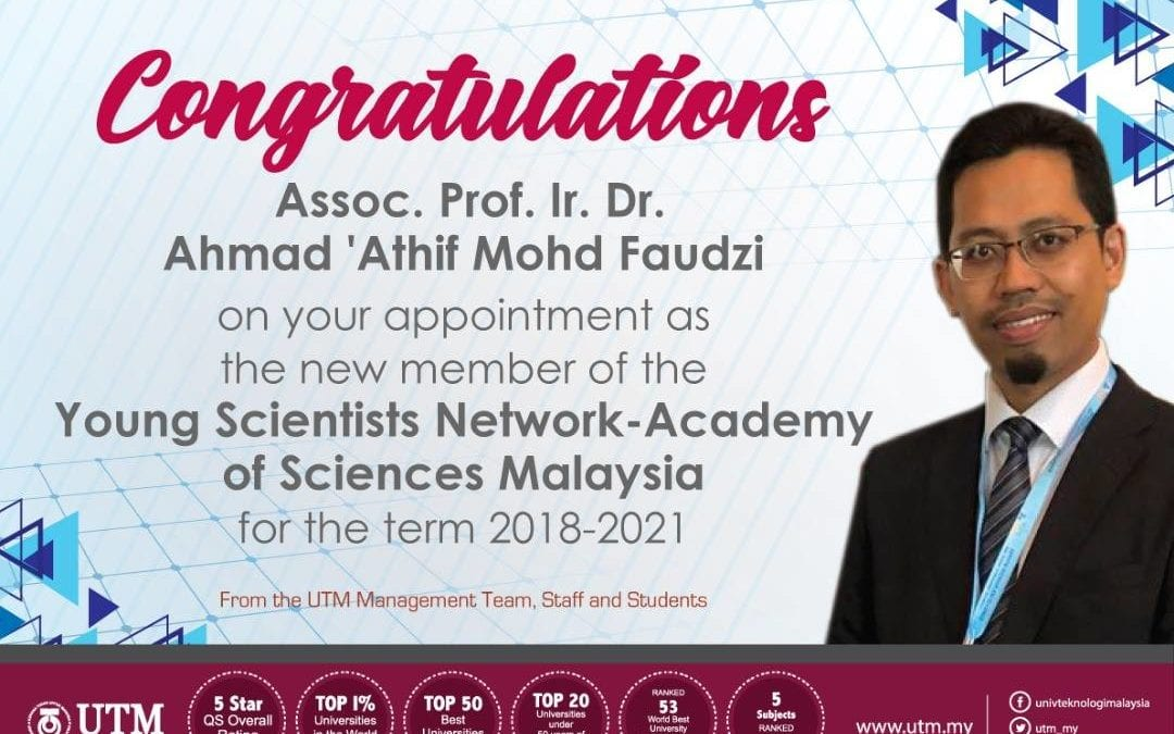 Assoc. Prof. Ir. Dr. Ahmad 'Athif appointed as Young Scientists Network member