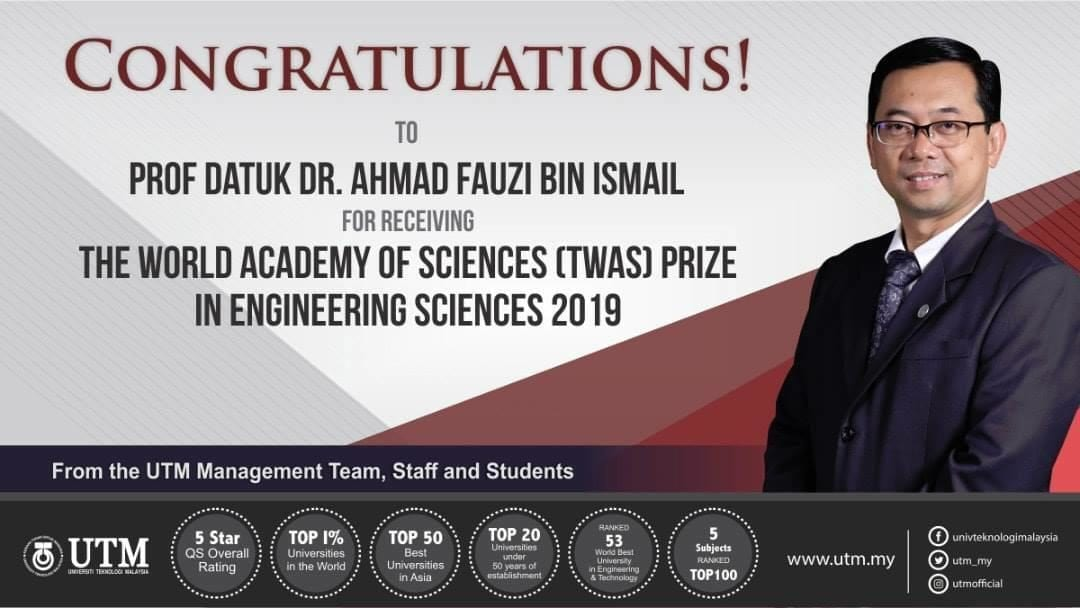 Prof Datuk Dr. Ahmad Fauzi receive World Academy of Science prize