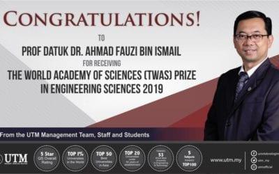 Prof Datuk Dr. Ahmad Fauzi receive World Academy of Science prize